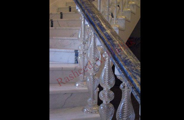 Suda Light Blue Handrail + Glass Balustrade