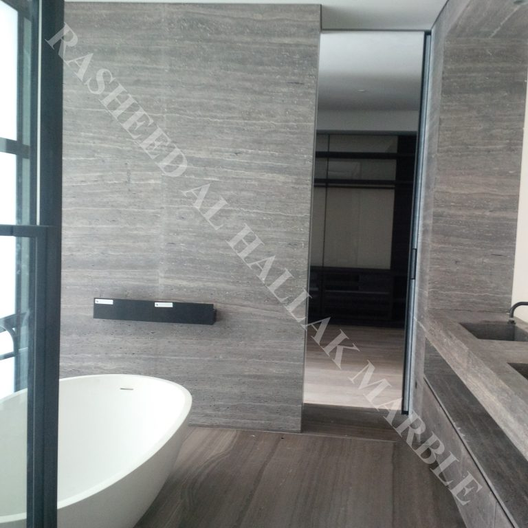 Silver Travertine-brushed @ INDEX TOWER-DUBAI