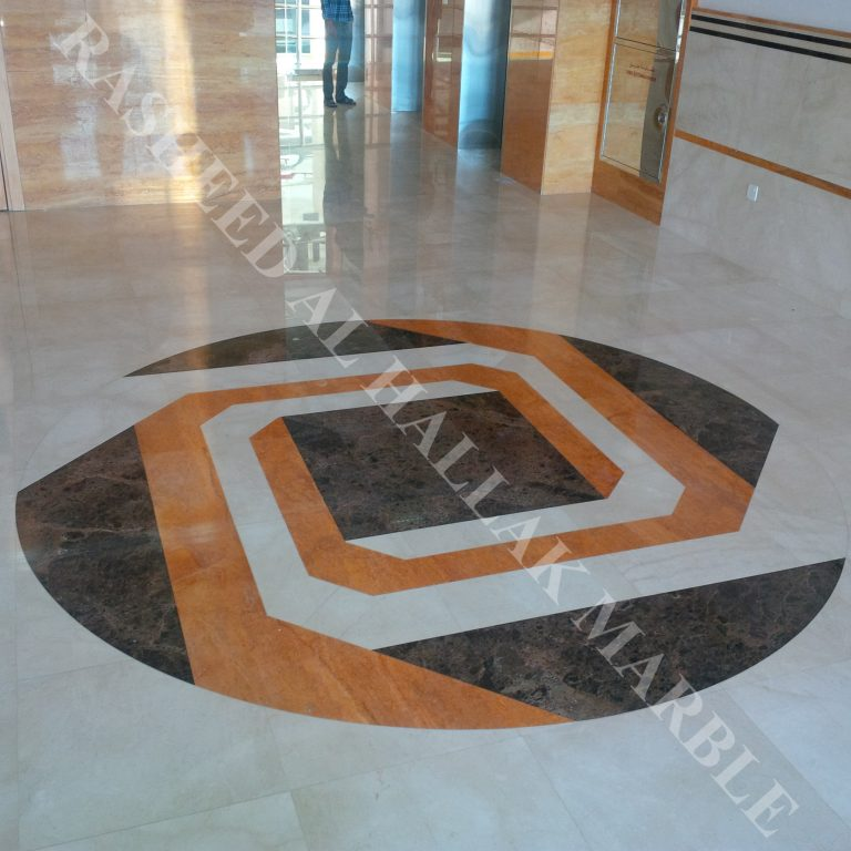 Orange Travertine wall cladding and creama marfil flooring with waterjet medalion for building entrance  – Dubai