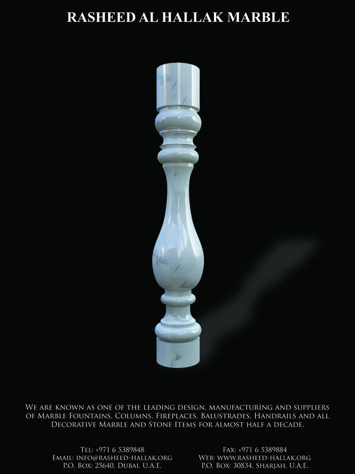 white calacatta marble balustrade classic  design