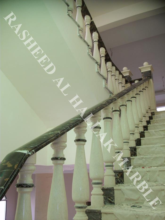 balustrades and handrails with post creama wz black and gold marble at RAK villa