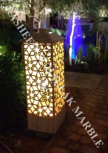 BEIG TRAVERTINE WATERJET GARDEN LIGHT FOR HARD LANDSCAPING