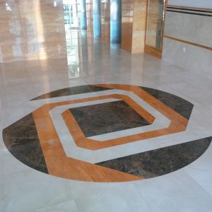Wall Cladding & Flooring IN ORANGE TRAVERTINE AND ROYALCREAMA  MARBLE