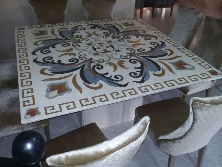 Cream Beige Marble Table Top water jet design