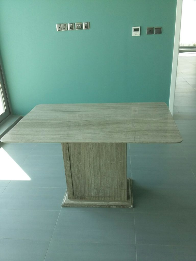 Wooden Grey Marble Table