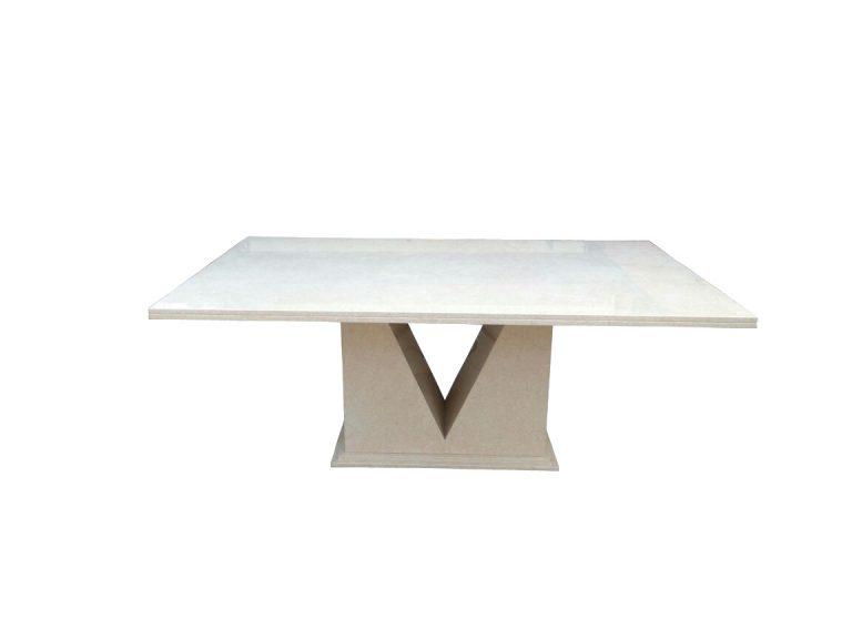 Platinum Cream Marble Dining Table